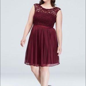 David's Bridal | Short Lace & Mesh Plum Dress